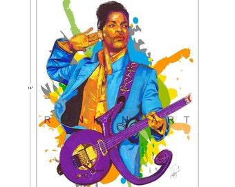 Prince, Purple Rain, 11x14 in, 29x36 cm, Signed Art Print w/ COA