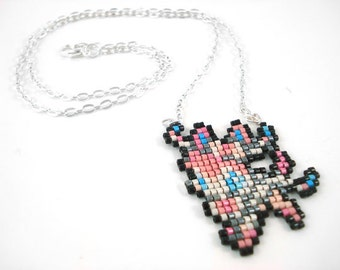 Sylveon Necklace - Pixel Necklace Pokemon Necklace Pixel Jewelry 8 bit Necklace Seed Bead Neklace Video Game Necklace Eeveelution Necklace