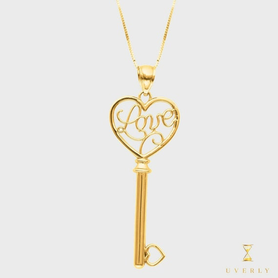 """14k Solid Yellow Gold """"Love Collection"""" Love Key Charm Pendant Necklace"""