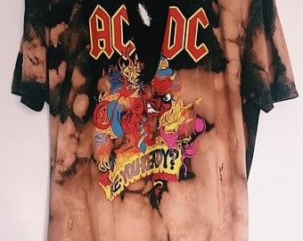 AC/DC oversized bleached t-shirt with v neck plunge