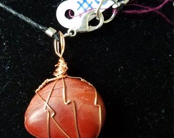 Handmade Copper wire Wrapped Red Stone Necklace