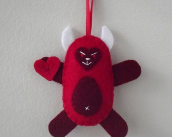 Little Devil Ornament - Sweet Heart Devil Ornament - Felt Ornament Red Devil - Cute Devil Holiday Ornament