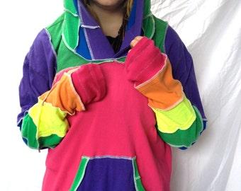 RAINBOW T Shirt Hoodie Katwise Inspired Light Festival BurningMan-style Upcycled Fairy Recycled Hippie Hood Jacket OOAK HALLOWEEN size Large