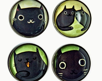 Black Cat Art Magnets - Black Cat Magnets - Black Cats - Crazy Cat Lady Gift - cat lover present - cat gift - cat owner gift