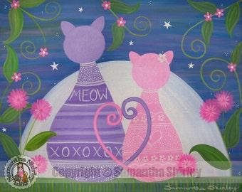 Sweet November - Kids Art Print Children's Decor - Kitty Cats in Love - Girls Room Kids Wall Art Prints for Baby Nursery, Child, Teen by TLW