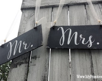 MR and MRS SIGNS | Wedding Chair Signs | Rustic Chalkboard Signs | Barn Wedding Decor | Rustic Photo Props for Weddings | Double Sided Signs