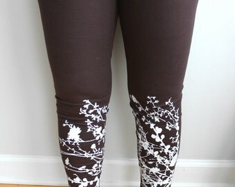 XL- Artsy Flowering Branch Hand screen Printed Leggings -