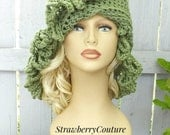Sage Green Crochet Hat Womens Hat, African Beanie, African Hat, Light Sage Green Hat, LOOPY Crochet Beanie Hat for Women, Winter Hat