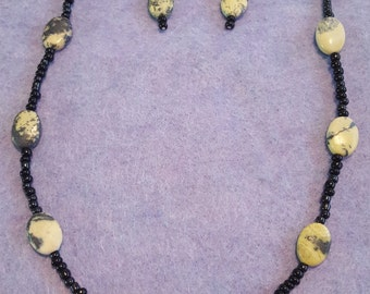 Moss Agate desginer necklace and earing set