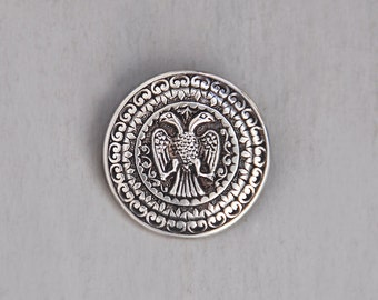 Vintage 800 Silver Two Headed Eagle Brooch - double headed bird heraldic shield round pin