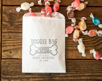 Doggie Bag - Birthday or Wedding Favor Bag - Custom Printed Wax Lined Paper Bags - 20 White Favor Bags included