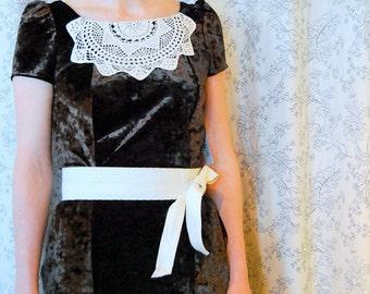 Ritzgerald Dress SMALL-MEDIUM stretch velvet, formal, Eco, vintage crochet, doily, rework, one of a kind, handmade, vintage, eco friendly