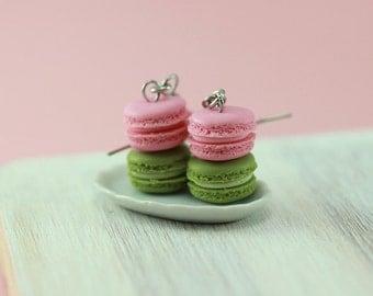 Pistachio and Strawberry Macaron Earrings