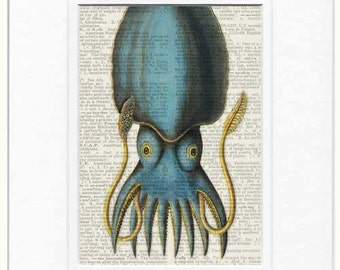 blue Squid Print