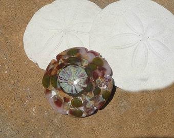 Handmade Lampwork Glass Bead Focal Sand dollar Ocean Shell Waves Sand Beach Nautical Artisan bead Large lentil SRA GenerationsLampwork