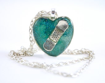 Teal CHD Necklace, Teal Congenital Heart Defect Jewelry, Broken Heart, Mended Heart Jewelry, New Mother, Teenage Gift, Sympathy Gift