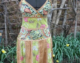 Hippie boho dress SALE was 32.00 Sweet India cotton sun dress Medium paisley tan green layered