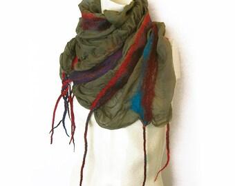 Felted Scarf Wool Silk Shawl Nuno Ruffled Textured Spring Scarf Green Strips Red Burgundy Blue Purple