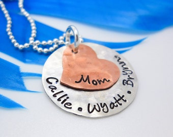 Mothers Necklace With Names, Sterling Silver Mom Necklace, Hand Stamped Necklace With Names, Personalized Jewelry For Mom, Necklace Gift Mom