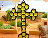 Yellow Stained Glass Cross Suncatcher