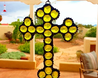 Yellow Stained Glass Cross Suncatcher