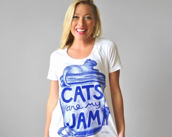 "Womens Cat Print White Shirt ""Cats are my Jam"", funny tshirt, gift for women, gift for her, graphic tee women, cat lover gift, cat lady"