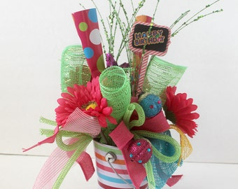 Happy Birthday Arrangement, floral arrangement, gift for her, Birthday party decoration, home decor