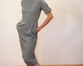Teena Paige 50s Dress, 50s Sheath Dress, Gray Polka Dot Cotton Dress, 1950s Day Dress, Demure Midcentury Dress, size S M