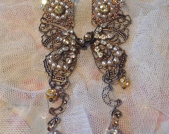 Lilygrace Miriam Haskell Style Long Butterfly Earrings with Brass Filigrees, Vintage Pearls and  Vintage Rhinestones