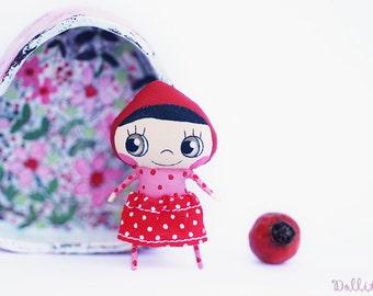Miniature fairy doll, Special fabric doll, Petite friend, Red cap doll, Red hood doll, Heart box, Mini cute doll, Elf doll, Kawaii girl doll