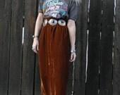 FOR HANNAH 70s Maxi Skirt // Red Velvet // Boho Clothes // Bohemian Clothing // Southwestern // 90s Grunge // High Waisted Skirt // SMALL