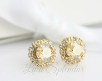 Crystal Stud Earrings Champagne Crystal Bridesmaid Earrings Golden Shadow Wedding Earrings Gold Stud Earrings Swarovski Crystal STUD Z15