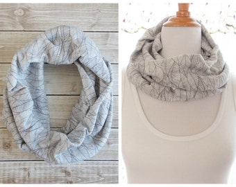 Rustic Ivory and Grey Leaf Cotton Jersey Knit Infinity Cowl Scarf