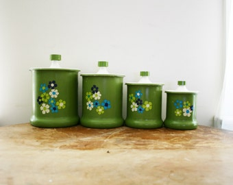 vintage 60s Avocado Green Flower Power Groovy Metal Kitchen Canisters Set