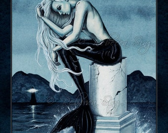 Stormy Seas PRINT Gothic Mermaid Art Ocean Water Lighthouse Column Night Clouds Sea Spray Teal Blue Green Watercolor 3 SIZES
