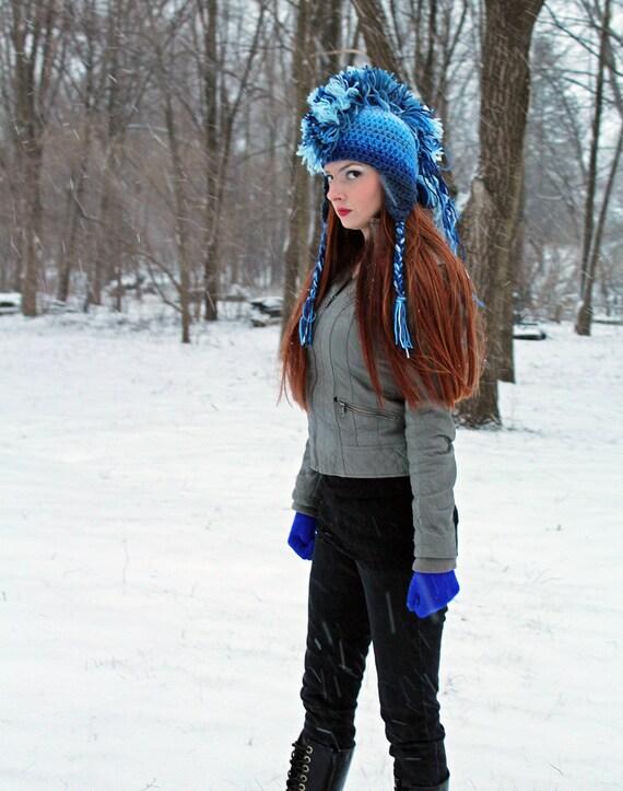 Blue Skies Ombre Fade Mohawk  Ear Flap Hat