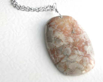 Orange Coral Fossil Pendant, Genuine Fossilized Coral Jewelry, Agate Stone Necklace