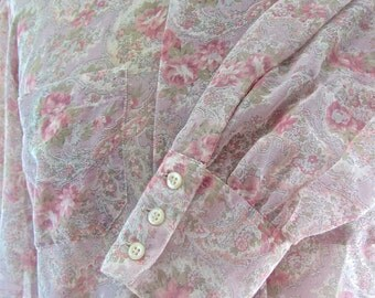 Womans Teens  Vintage Sheer Blouse Size 13/14 Long Sleeve Floral Paisley Romantic SALE