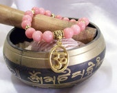 Om Mala Yoga Zen Meditation Rhodochrosite Gemstone  8mm OOAK Bracelet Elastic Stretchy OOAK