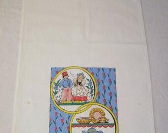 Vintage Towel Dutch Boy & Girl w Kitchen Shelves