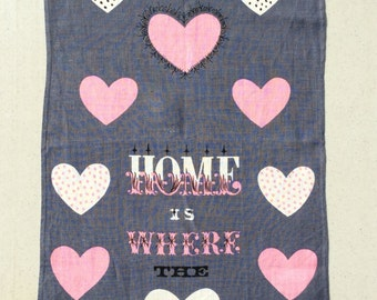 Vintage Mid Century Towel Tammis Keefe Home Is Where The Heart Is