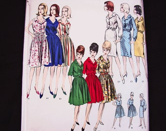 1960s Dress Pattern VOGUE Basic Design Misses size 16 Womens Shirt Dress Pattern with Full Skirt Slim Skirt Vintage Pattern