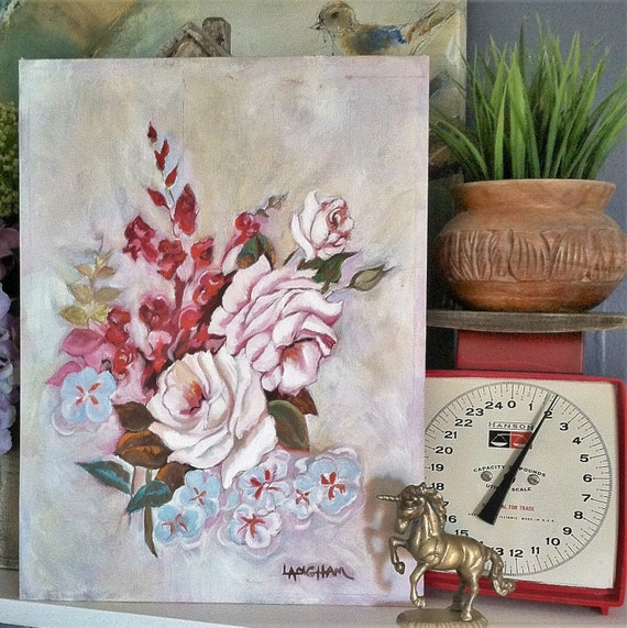 Roses Painting On Canvas Board , Vintage Signed Floral Painting , Pink and Blue Flowers Painting , Ready To Frame Floral Painting
