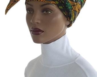 African Head Wrap Hat Scarf Satin Lined Genuine Angel Cotton Orange Green Black White African Print Cotton Natural Hair Wrap Turban Handmade
