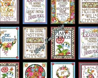 "18 BLOCKS - Quilting Treasures ""Mottos To Live By"" Mary Engelbreit 24348X Words Sayings Fabric Panel 24""x44"""