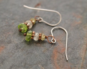 Grossular Garnet, Lemon quartz and Turquoise Earrings
