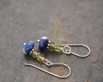 Peridot, Smoky quartz and Sodalite Earrings