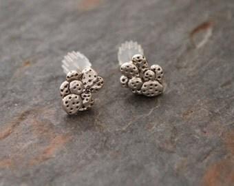 Sterling Silver Prickly Pear Cactus Post Earrings