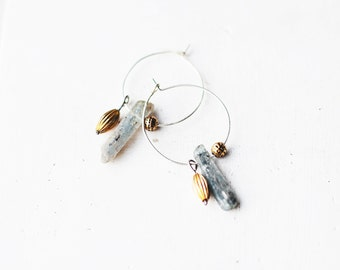 Hoop Sterling Silver Earrings / Kyanite Earrings / Gold Plated Earrings