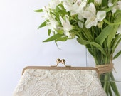Champagne and Ivory Alencon Paisley Lace Clutch | Bridal Clutch